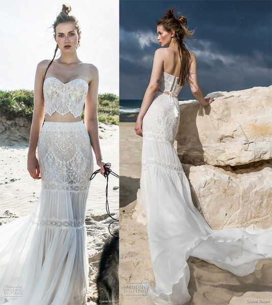 Bohemian Romantic Crop Top 2 Piece Sheath Wedding Dresses 2018 Limor Rosen Bridal Sweetheart Neckline Full Embellishment Chapel Train