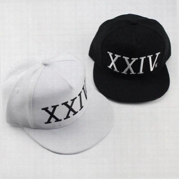 Bruno Mars Hat Snapback Hip Hop Xxiv Baseball Caps New Arrival Letter Man Plain Adjustable Snapback Hats Caps Black White