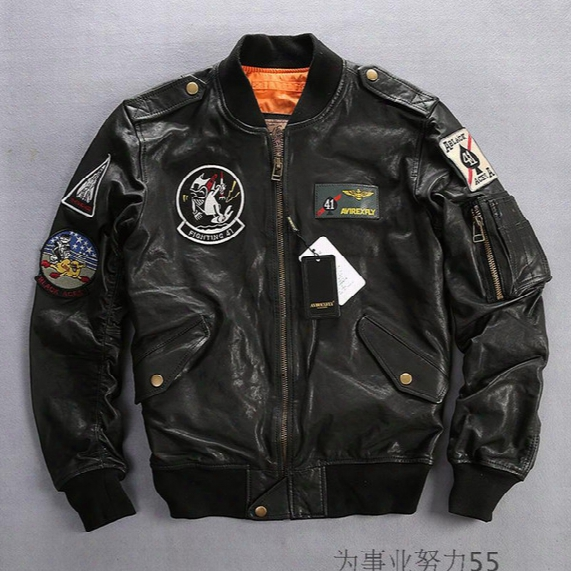Carrier Air Wing Bomber Jackets Avirex Fly Flocking Leather Jackets Baseball Uniform Fighting 41 Aces