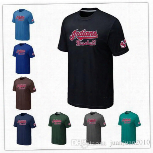 Cheap Cleveland Indians Baseball T Shirts Short Sleeve O-neck Practice T-shirt Wholesale Indians Cotton Shirts14 Colors