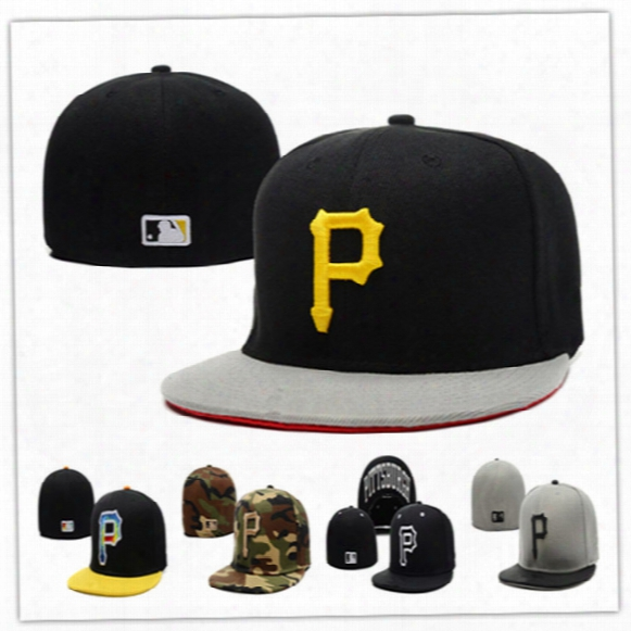 Cheap Pirates Fitted Caps P Letter Baseball Cap Embroidered Team P Letter Size Flat Brim Hat Pirates Baseball Cap Size