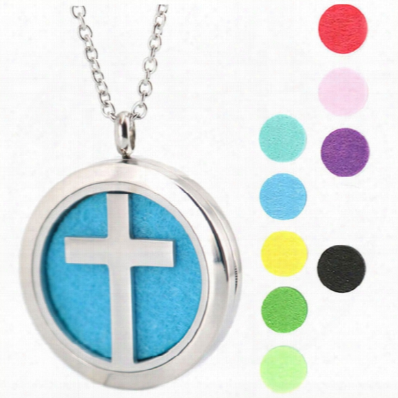 Cross Trees Baseball Music Aromatherapy Essential Oil Surgical Stainless Steel Perfume Diffuser Locket Necklace With Chain And Felt Pads