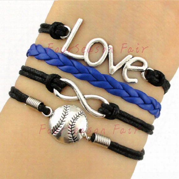 Custom-infinity Love Baseball Wax Cords Leather Wrap Bracelet & Bangles Softball Adjustable Bracelet For Best Gift-drop Shipping