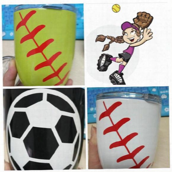 Egg Cup Baseball Softball Basketball Design Stemless Wine Glasses Tumbler Cup Vacuum Insulated Beer Mug 3 Color Kka2130
