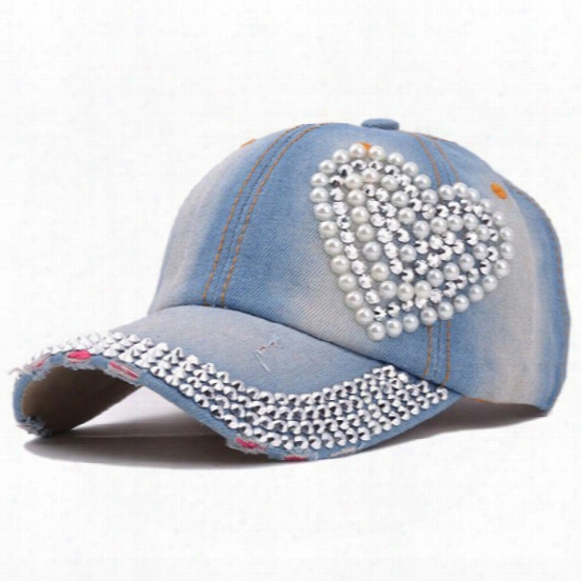Fashion Crystal Denim Baseball Cap Hat Rhinestone Snapback Caps For Women Hip Hop Hats