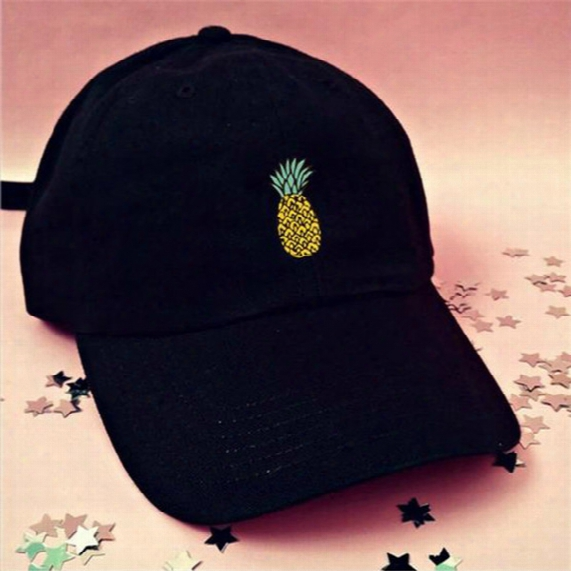 Foreign Trade Selling Small Pineapple Pineapple Printing European And American Tide Brand Hat Duckk Tongue Baseball Hat Summer Sun Sun Hat