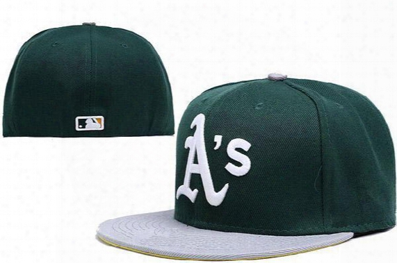 Free Shipping Mlb Oakland Athletics Snapback Medium Raised Embroidery Letter Fitted Hat Structured Classic High Crown Baseball Fit Cap