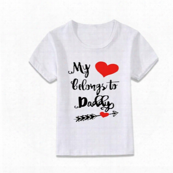 Heart Belong To Daddy Summer Fit T-shirt Wholesale Tee Shirt Dress Shirts Kids Child Baseball Tee