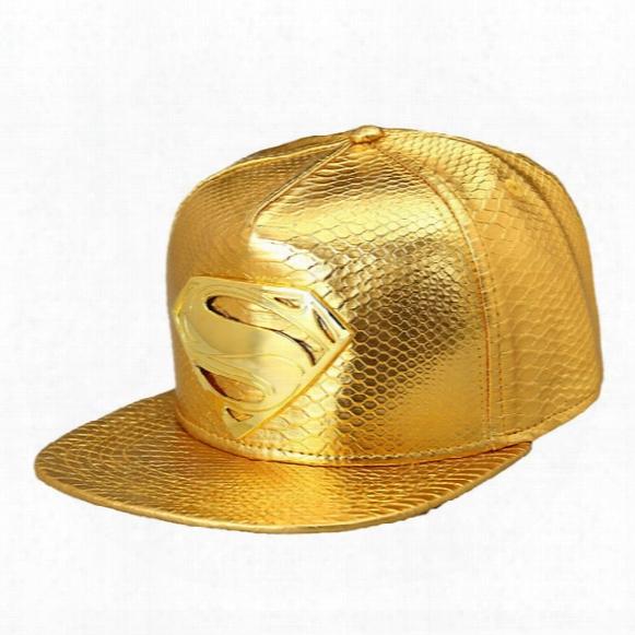 High Quality 2016 Star Pu Hats Supermen Snapback Gold Caps Hip Hop Baseball Hats Popular Mens Sports Adjustable Hats Dj Gift
