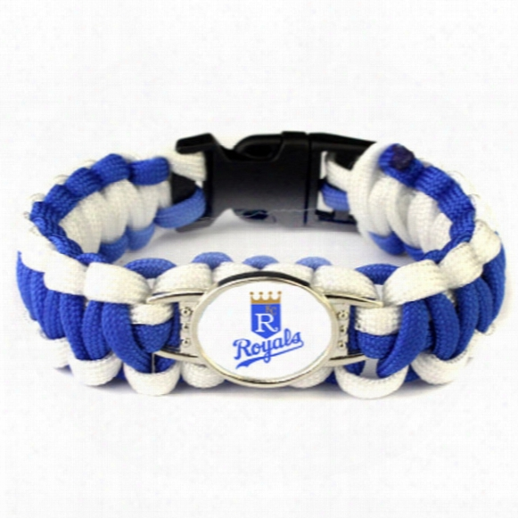 Hot Sale 25cm Kc Royals Baseball Team Paracord Survival Bracelet Umbrella Braided Bracelet Fashion Baseball Fans Gift