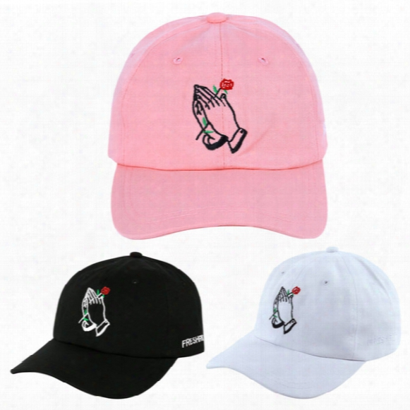 Hot Sale Adjustable Men Women Peaked Hat Hiphop Adjustable Strapback Baseball Cap Black White Pink One Size 3 Colors