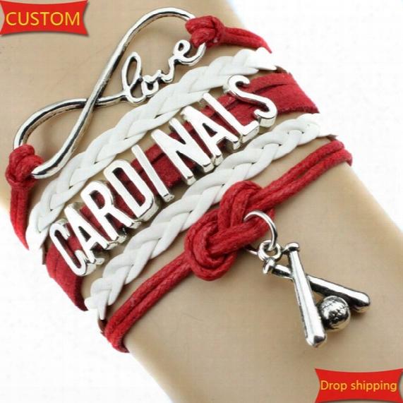 Infinity Love Cardinals Baseball Sports Team Bracelet Red White Customize Sport Friendship Bracelets Great Quality Creative Work