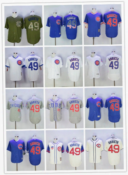 Jake Arrieta Jersey 2016 World Series Champions Patch Flexbase Chicago Cubs Color Army Green Grey White Pinstripe Blue