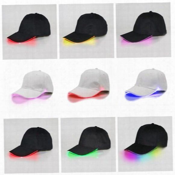 Led Baseball Caps Cotton Black White Shining Led Light Ball Caps Glow In Dark Adjustable Snapback Hats Luminous Party Hats Ooa2116