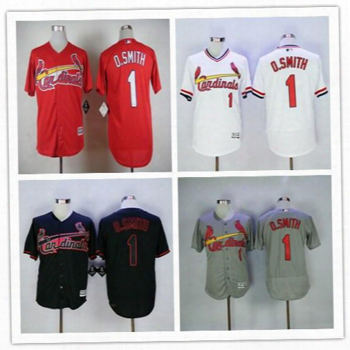 Men's 2016 St. Louis Cardinals #1 Ozzie Smith Throwback 1992 O.smith Baseball Jerseys White Black Blue Gray Cheap Head Quality