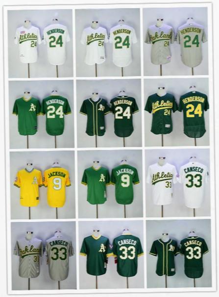 Men's Oakland Athletics Jersey 9 Reggie Jackson 24 Rickey Henderson 33 Jose Canseco 35 Henderson Stitched Throwback Baseball Jersey