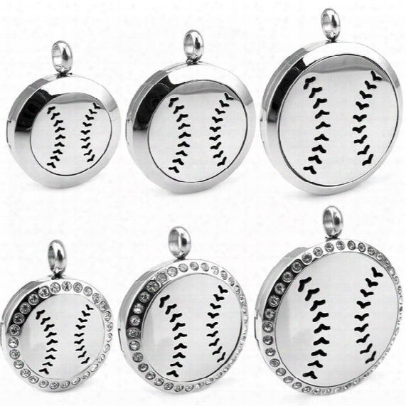 New Arrivals Round Silver Baseball (30mm) Essential Oils Stainless Steel Necklace Perfume Diffuser Locket Aromatherapy Locket Necklace