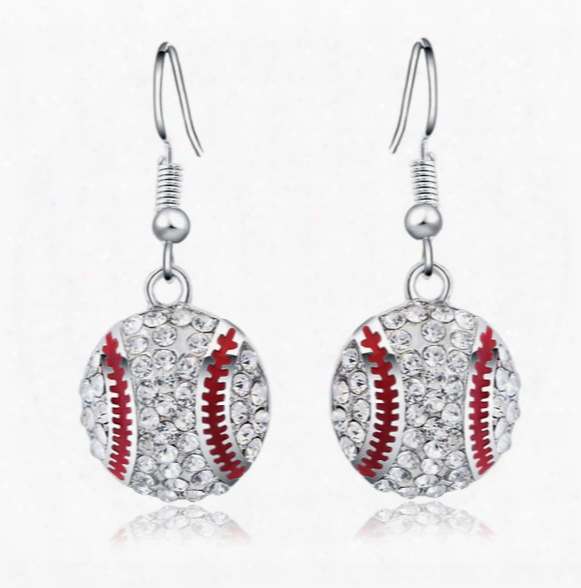 New Fashion Explosion Sterling Silver Earrings Baseball Temperament Fashione Arrings Simple Earrings For Women Sy- 62