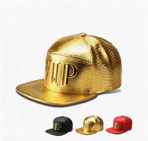New Fashion Mens Hip Hop Vip Baseball Caps Pu Leather Casual Unisex Outdoor Hats Gold/black Snapback