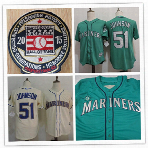 Newest-mens Seattle Mariners Randy Johnson 2015 Hof Patch Cool Base Jerseys 51 Randyj Ohnson Mariners Throwback Cooperstown Baseball Jerseys