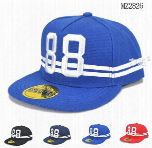 Retail Unisex Child Baseball Caps Digital 88 Embroidery Adjustable Flat Brim Kids Boys Girl Spring Autumn Baseball Hats Mz2826
