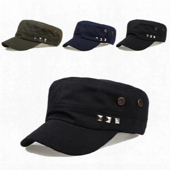 Retro Men Women Baseball Hat Punk Rivet Studd Military Peaked Cap Adjustable