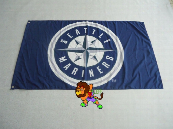 Seattle Mariners Flag 3x5 Ft Banner 100d Polyester Mlb Flag Brass Grommets