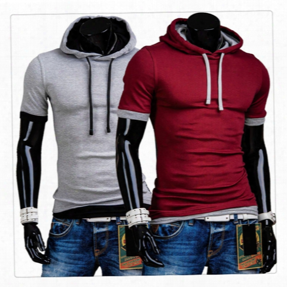 T-shirts For Men Fashion O-neck Fake Two Pieces Short-sleeves  Men's Sports Breathable Summer Hooded T-shirts Us Size:xs-l