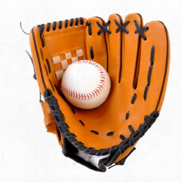 """Thickening Pitcer Batting Gloves Pvc Artificial Leather Baseball Gloves Lightweight Softball Gloves Adult 10.5"""" 12.5"""" Left Hand Pale Brown"""