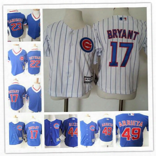 Toddler Chicago Cubs #17 Kris Bryant 44 Anthony Rizzo 49 Jake Arrieta 23 Ryne Sandberg 22 Jason Heyward Blue White Stitched Children Jerseys
