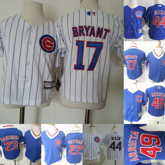 Toddler Chicago Cubs Jersey 17 Kris Bryant 49 Jake Arrieta 22 Jason Heyward 44 Anthony Rizzo Sandberg Baby Baseball Jerseys Free Shipping