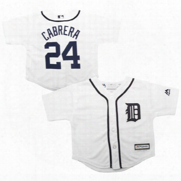 Toddler Detroit Tigers Miguel Cabrera White Home Cool Base Jersey Stitched Preschool #24 Miguel Cabrera Tigers Tigers Baby Jersey 2t-4t