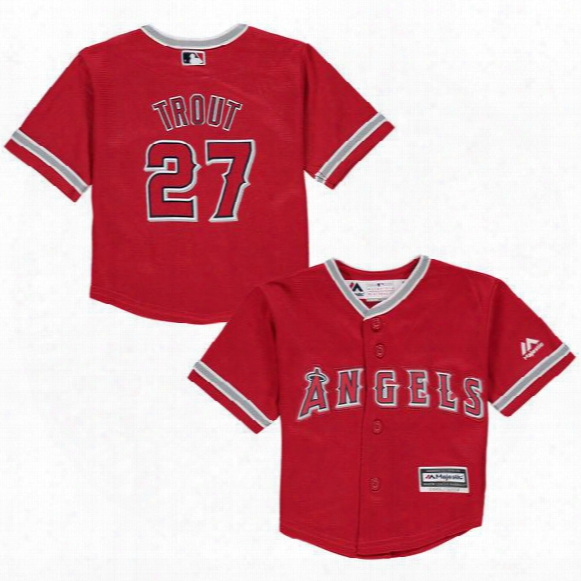 Toddler Los Angeles Angels Of Anaheim Mike Trout Red Alternate Cool Base Jersey Stitched Preschool #27 Mike Trout Baby Jersey 2t-4t