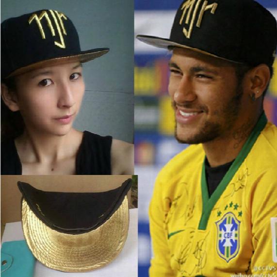 Wholesale-1000pcs Arrival Golden Logo Neymar Jr Brazil Baseball Caps Cap Hip Hop Sport Snapback Cap Hat Chapeu De Sol Bone Masculino Men