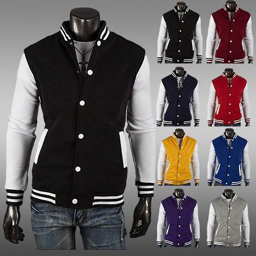 Wholesale-20144 Free Shipping Nwt Varsity Letterman College Baseball Cotton Jacket,male Cardigan Slim Short Design Baseball Napping Fleeces