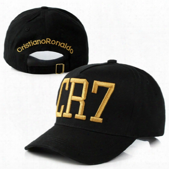 Wholesale- 2016 Cristiano Ronaldo Cr7 Black Baseball Caps Hip Hop Sports Snapback Football Hat Chapeu De Sol Swag For Men And Women