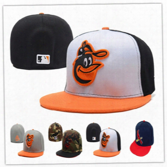 Wholesale Baltimore Orioles Fitted Hats Baseball Head-cover Full Closure Orioles Hats Size Flat-brim Hat Fitted Caps