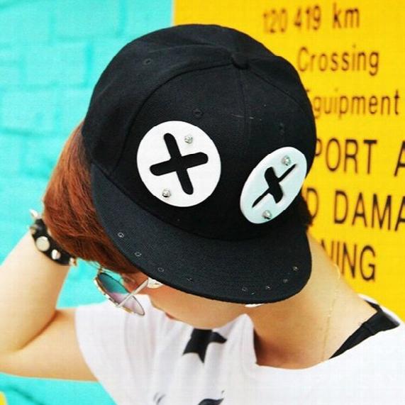 Wholesale-fashion Rivet Xx Eyes Acrylic Snapback Cap For Men Punk Sharp Teeth Baseball Cap Swag Hip Hop Bone Cap Men Hats For Women B198