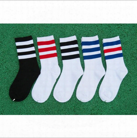 Wholesale-hot Selling 1 Pair Cotton Stripe Baseball Football Soccer Basketball Sport Ankle Mid Socks
