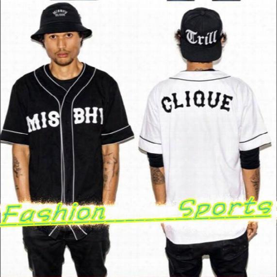 Wholesale-unisex Summer Hiphop Vintage Short-sleeve Baseball Clothing Shirt Male Baseball Uniform Men's V-neck Jersey Sports Tees