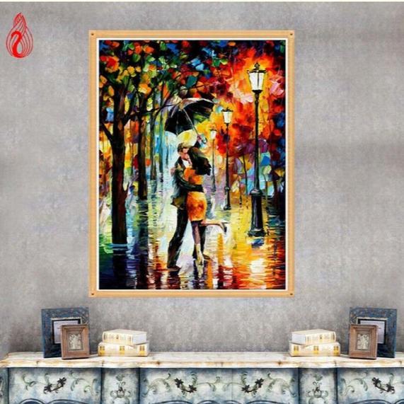Ygs-221 Diy 5d Diamond Embroidery Romantic Rain Lovers Round Diamond Painting Cross Stitch Kit Mosaic Painting Home Decoration