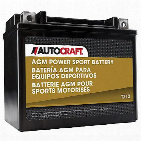 12-volt Sealed Agm Premium Powersport Battery, 180 Cca