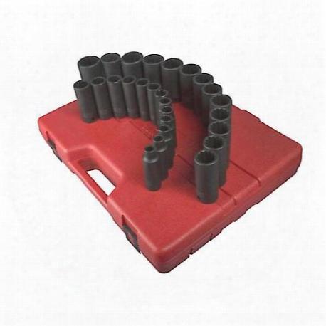 "26 Piece 1/2"" Drive 12 Point Metric Deep Impact Socket Set"