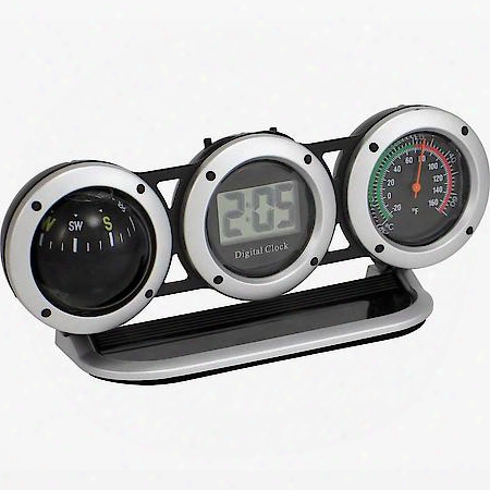 Combo Clock-compass-thermometer