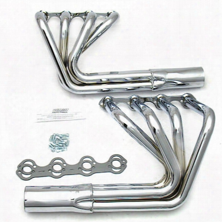 "H8470 1 5/8""x3 1/2"" Roadster Header Street Rod Sprint Small Block Ford Chrome"