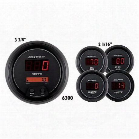 Sport-comp Digital 5 Gauge Set Fuel/oil/speedo/volt/water