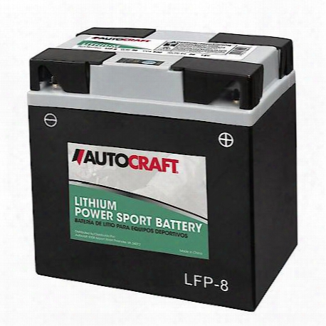 Autocraft Lithium Power Sport Battery, Lithium, Iron, Lfp-8, 500 Cca - Lfp-8