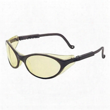 Uvex Bandit Black Frame Safety Glasses With Amber Lens - Uvxs1601