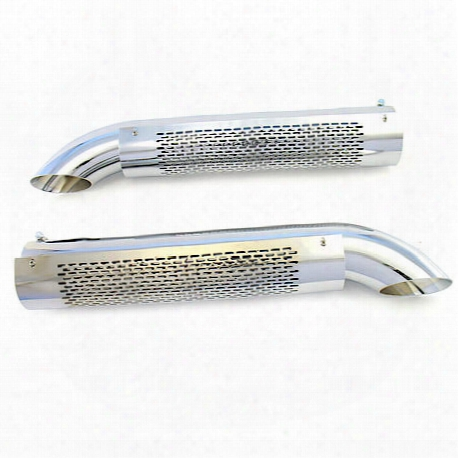 Patriot Exhaust H3824 Side Tube Turnout Muffler With Shield Chrome - H3824