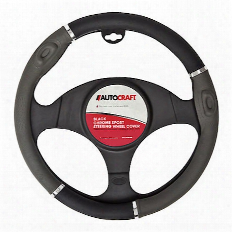 Autocraft Steering Wheel Cover Sport Black Grey - Ac39725b